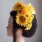 結婚式髪飾り・ひまわりとピンポンマムで小粋に
