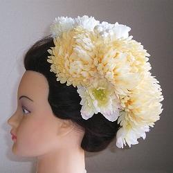 和装髪飾り・オフ手毬菊と芍薬