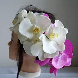 結婚式髪飾り・白と紫の胡蝶蘭でエレガント