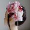 結婚式髪飾り・ピンクローズとキラキラで愛らしく