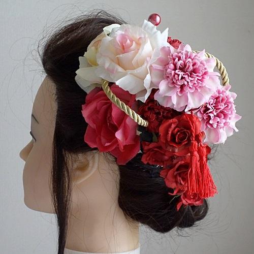和装髪飾り・ピンクダリアとローズで和モダン