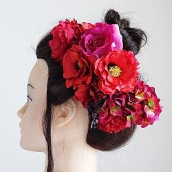 和装髪飾り・椿と芍薬とマムで麗しく