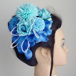和装髪飾り・マムとローズの花びらでモダンスタイル