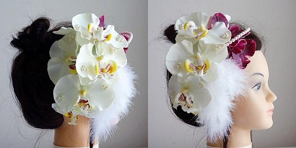和装髪飾り・2種類の胡蝶蘭とフェザーでスライリッシュ